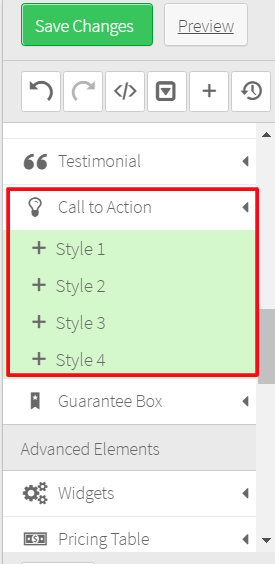 CTA buttons Thrive Content Builder