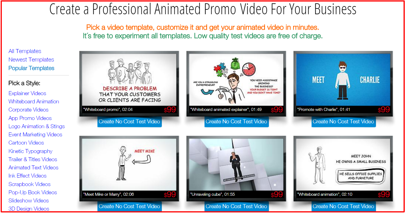 make free animated business video